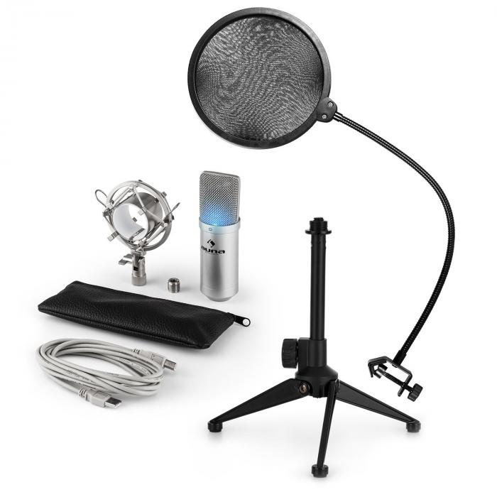 MIC-900S-LED USB Mikrofonset V2 | 3-teiliges Mikrofon-Set mit Tisch-Stativ