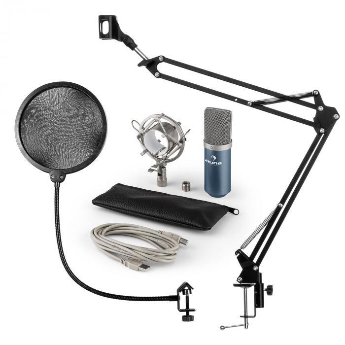 MIC-900BL USB Mikrofonset V4 Kondensatormikro Pop-Schutz Mikroarm blau
