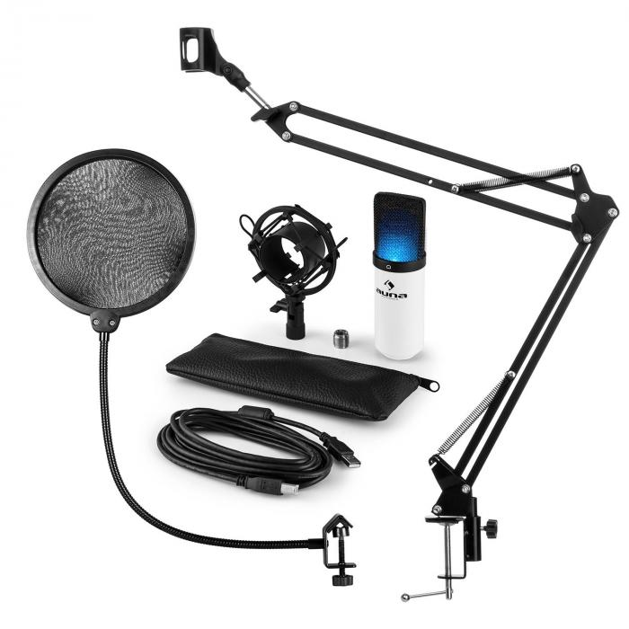 MIC-900WH-LED USB Mikrofonset V4 Kondensatormikro Pop-Schutz Arm LED weiß