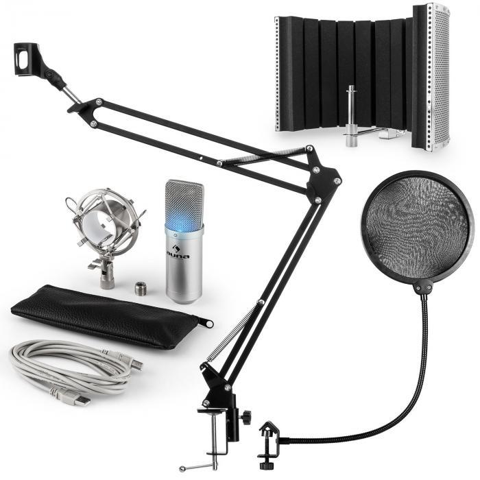 MIC-900S-LED USB Mikrofonset V5 Kondensator Pop-Schutz Schirm Arm silber