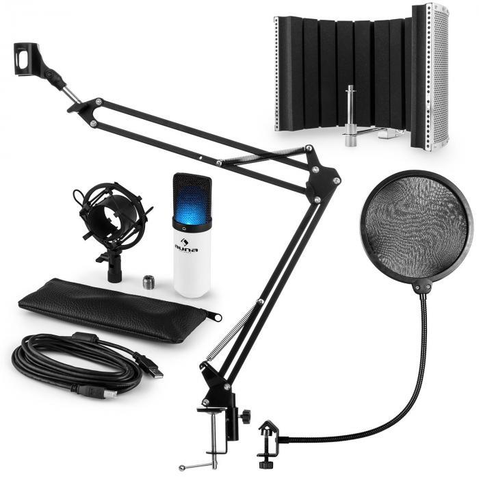 MIC-900WH-LED USB Mikrofonset V5 Kondensator Pop-Schutz Schirm Arm LED weiß