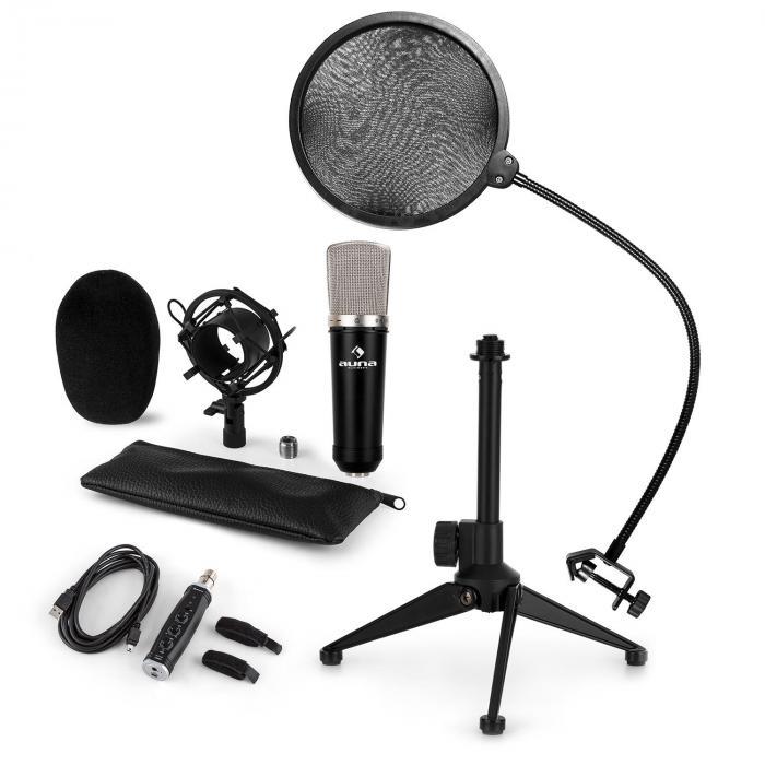 CM003 Mikrofon-Set V2 Kondensatormikro USB-Konverter Mikrostativ POP-Schutz