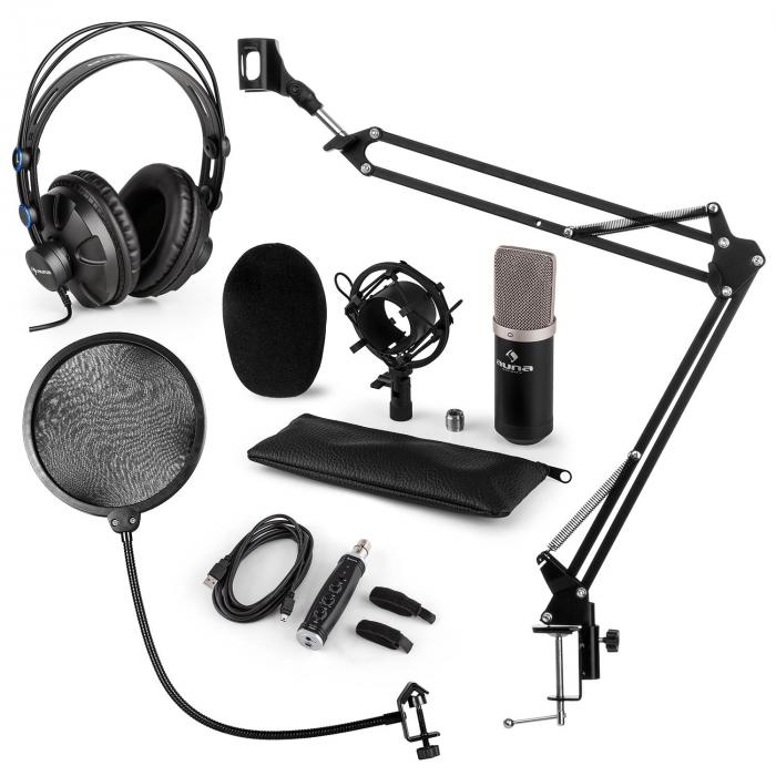 CM003 Mikrofon-Set V4 Kondensatormikrofon USB-Konverter Kopfhörer schwarz