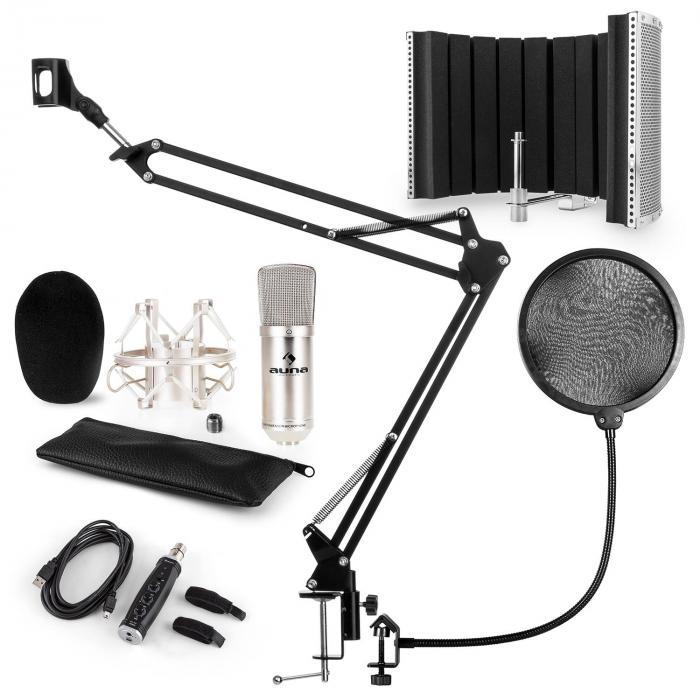 CM001S Mikrofon-Set V5 Kondensator USB-Adapter Arm POP-Schutz Schirm silber