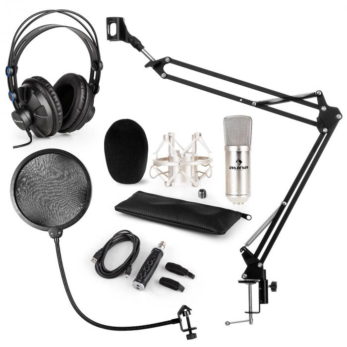 CM001S Mikrofon-Set V4 Kopfhörer Kondensator USB-Adapter Arm POP-Schutz