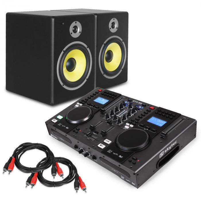 "DJ Set ""Starter Control"" DJ-Controller Boxen-Set 2x Cinch Kabel"