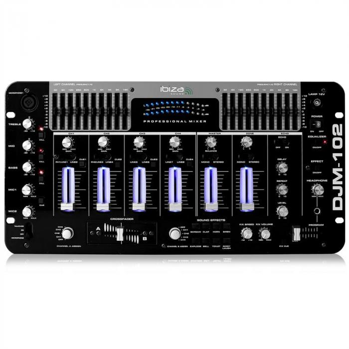DJM-102 4-Kanal-Mixer LED Echo Effekte Battle Profi