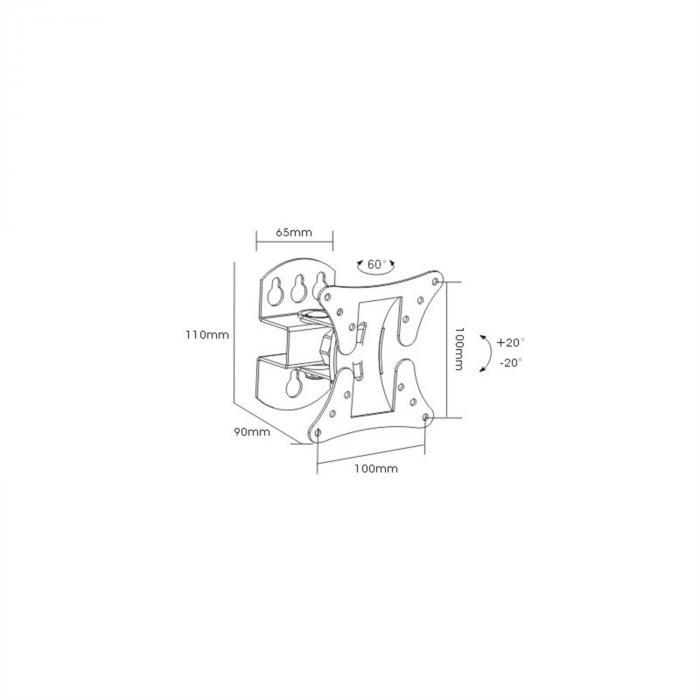 LCD-501 Schwenkarm-Wandhalterung <30kg <58cm