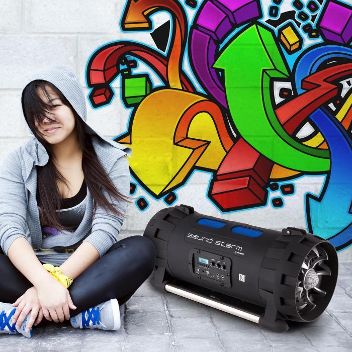 Soundstorm Ghettoblaster Bluetooth NFC USB Akku schwarz/blau