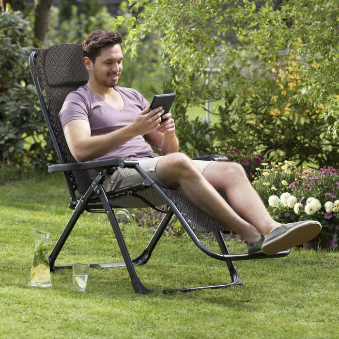California Red Liegestuhl Gartenstuhl klappbar gepolstert Rautenmuster