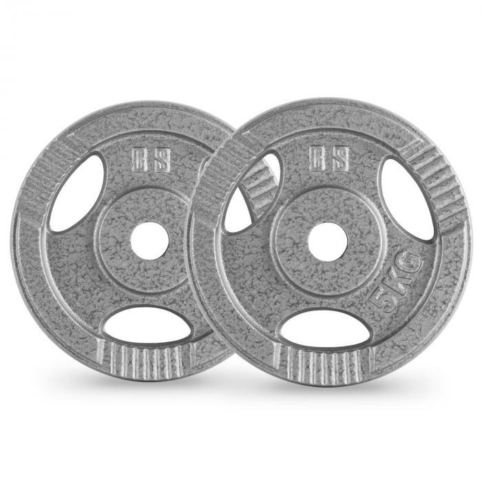 IP3H 5 Hantelscheiben Paar 30 mm 5 kg Grifflöcher grau