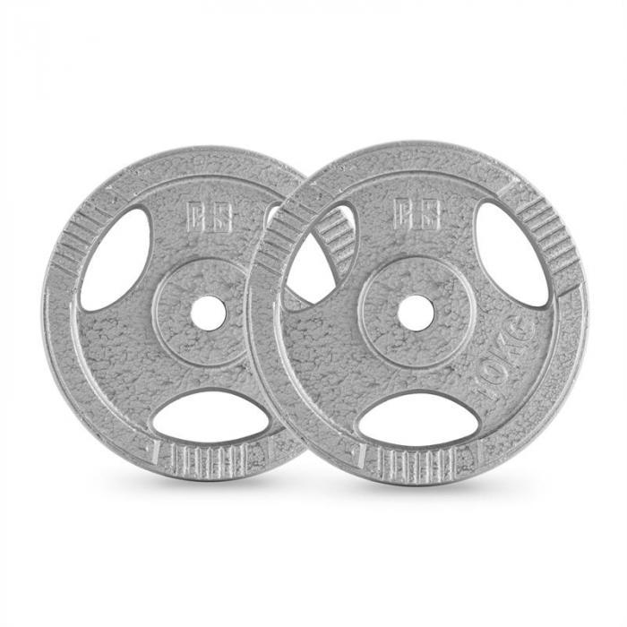 IP3H 10 Hantelscheiben Paar 30 mm 10 kg Grifflöcher grau