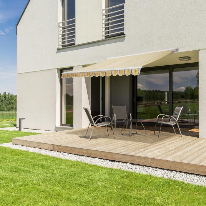 Capri-Mood Kassettenmarkise 4x3m 280g/m² Acryl Beige/Gelb