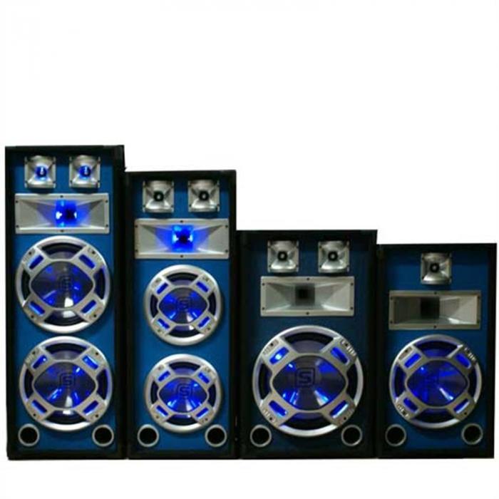 SKY-178 Paar PA-Lautsprecher PA-Box 2x 25cm (10'')-Subwoofer blau LED-Lichteffekt 800W