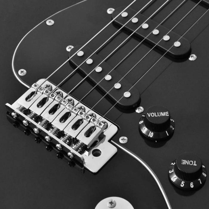 CAL63 E-Gitarre schwarz Erle / Ahorn Tremolo