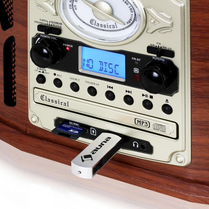 NR-620 Stereoanlage Plattenspieler MP3-Aufnahme Holzgehäuse