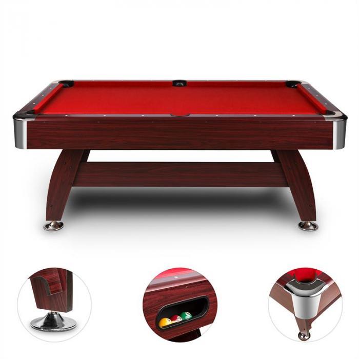 Brighton Billardtisch 7' (122x82x214 cm) Zubehörset Holzdekor rot
