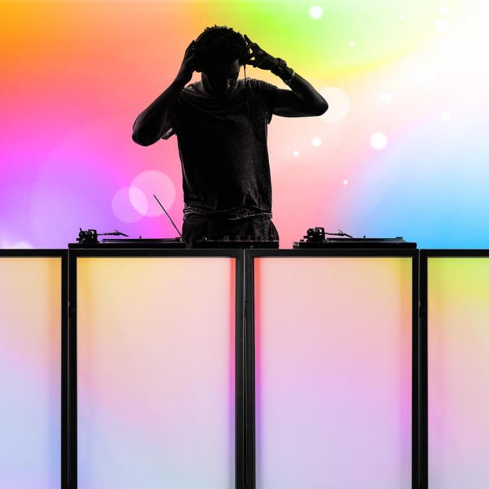 DJ Booth mit Lichteffektständer SET