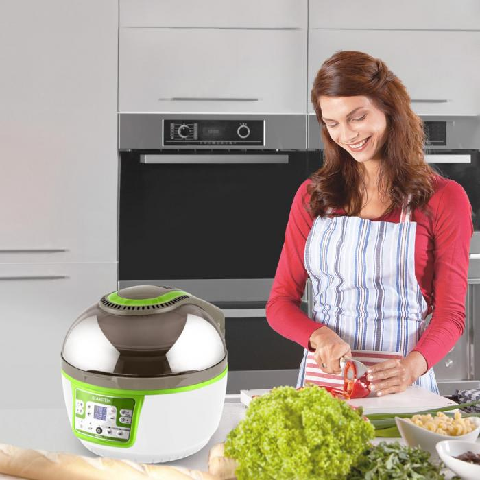 VitAir Turbo Heißluftfritteuse grün-weiß 1400W Grillen Backen 9l