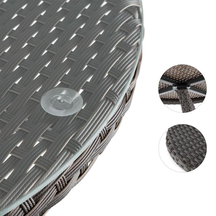 Tabula Beistelltisch 50cm Glas Polyrattan Aluminium bicolor braun