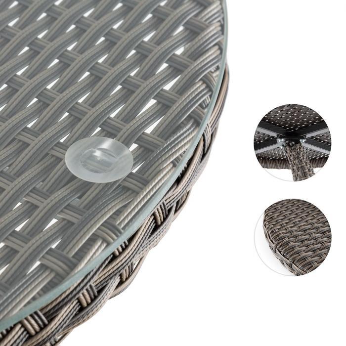 Tabula Beistelltisch 50 cm Glasplatte Polyrattan Aluminium bicolor Tau