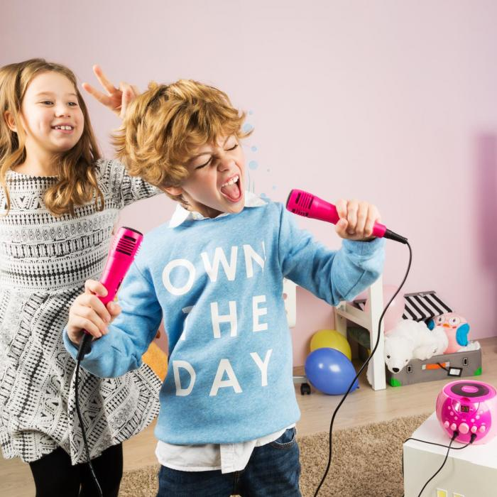 SingSing portable Karaoke-Anlage LED Batteriebetrieb 2 x Mikrofon