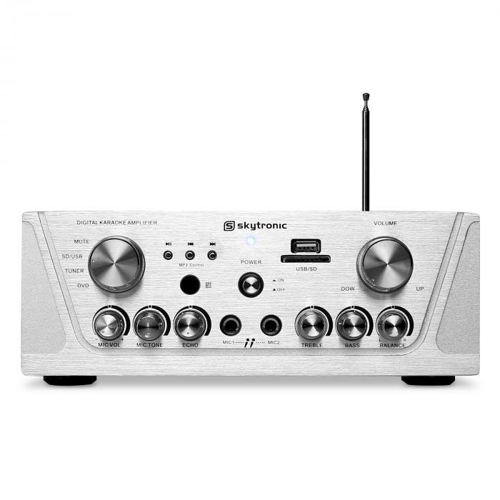 SKY-103 HiFi-Karaoke-Verstärker 400W max. Radio-Tuner MP3-USB-SD 2x Mikrofon-Anschluss silber