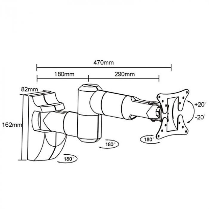 LCD-503 Schwenkarm-Wandhalterung bis 30kg 47cm
