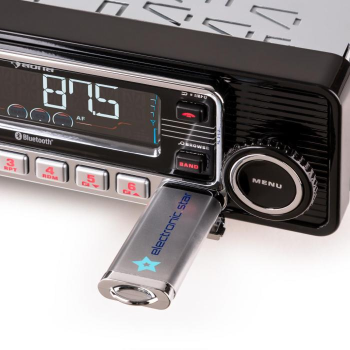 RMD-Sender-One Autoradio Bluetooth USB SD MP3 AUX CD Retro schwarz