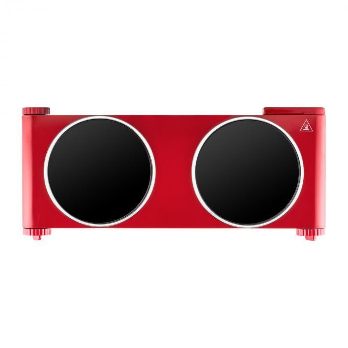 Captain Cook² Doppel-Kochplatte Infrarot 2400W Edelstahl rot