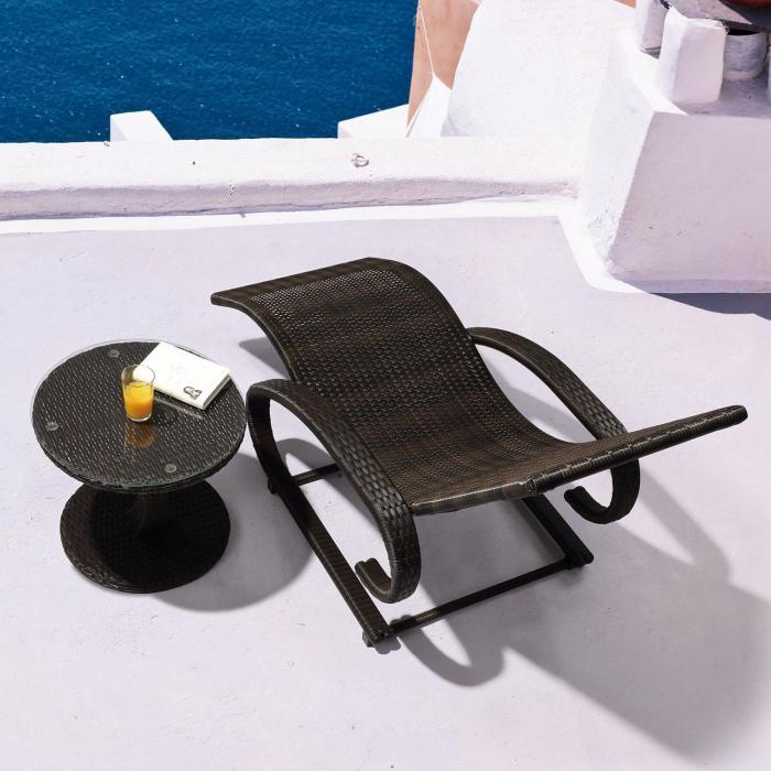 Daybreak Schwingliege Freischwinger Lounge braun Aluminium Polyrattan