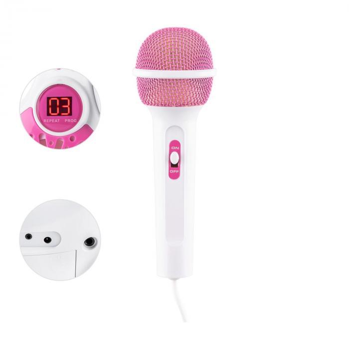 Rockpocket Kinder-Karaokesystem CD AUX 2x Mikrofon Sticker Set weiß