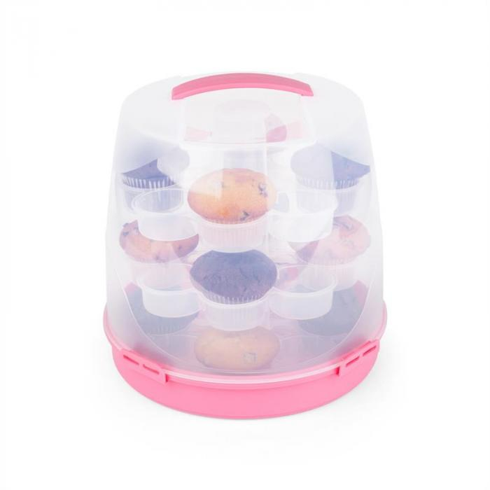 Pinkkäppchen Tortenglocke Kuchenbox Cupcake-Carrier Ø26cm pink