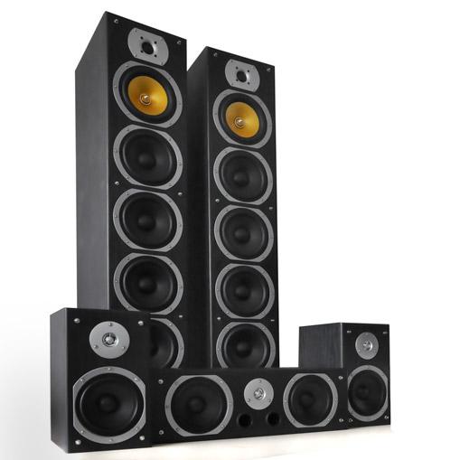 V9B Surround Lautsprecher Set schwarz, 5 Stück 1240W