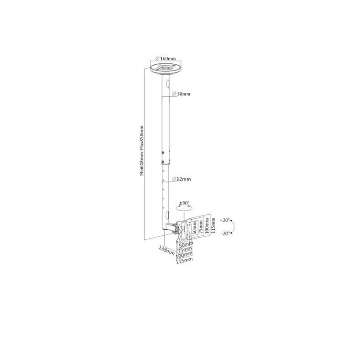 LCD-504 LCD Celling Mount Deckenhalterung