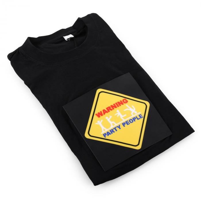 STS-PAR T-Shirt LED 3-Farben Warning Party People Design Größe XL
