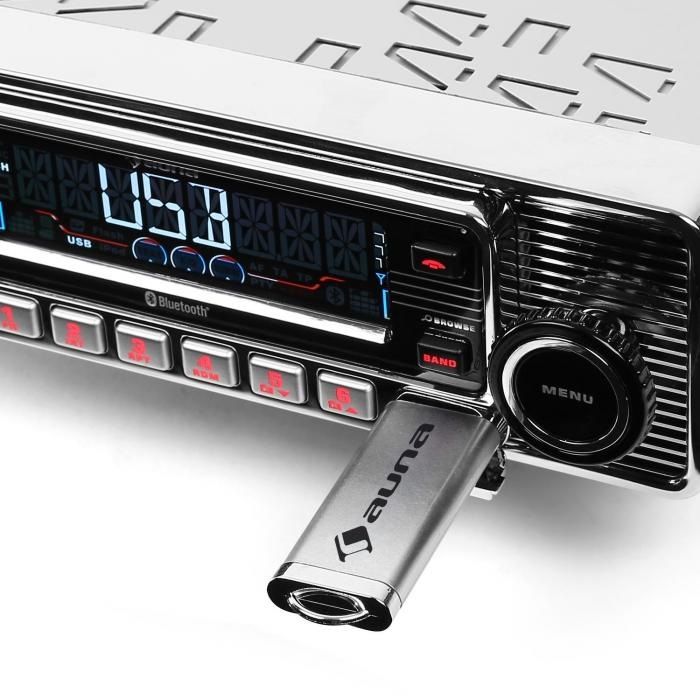 RMD-Sender-Two Autoradio Bluetooth USB SD MP3 CD Retro silber