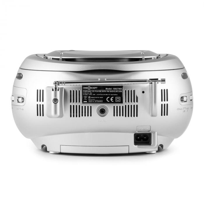 Groovie SL Boombox Bluetooth CD UKW AUX MP3 silber