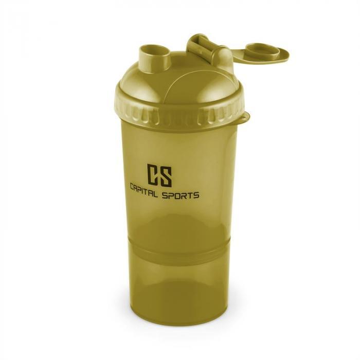 Shakster Eiweiß-Shaker 600ml Mixkugel Pillendose grün