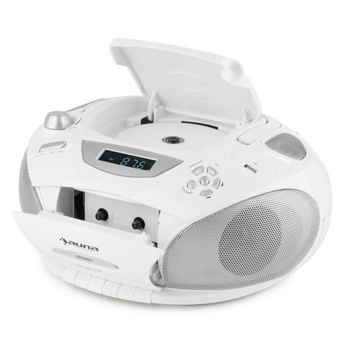 RCD 220 Boombox CD USB Kassettendeck PLL-UKW-Radio MP3 weiß