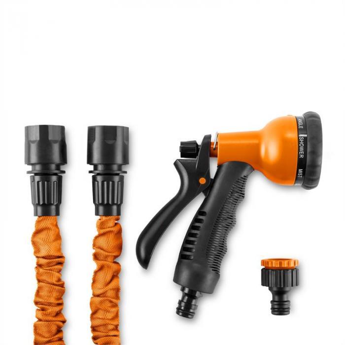 Water Wizard 22 Flexibler Gartenschlauch 8 Funktionen 22,5 m orange