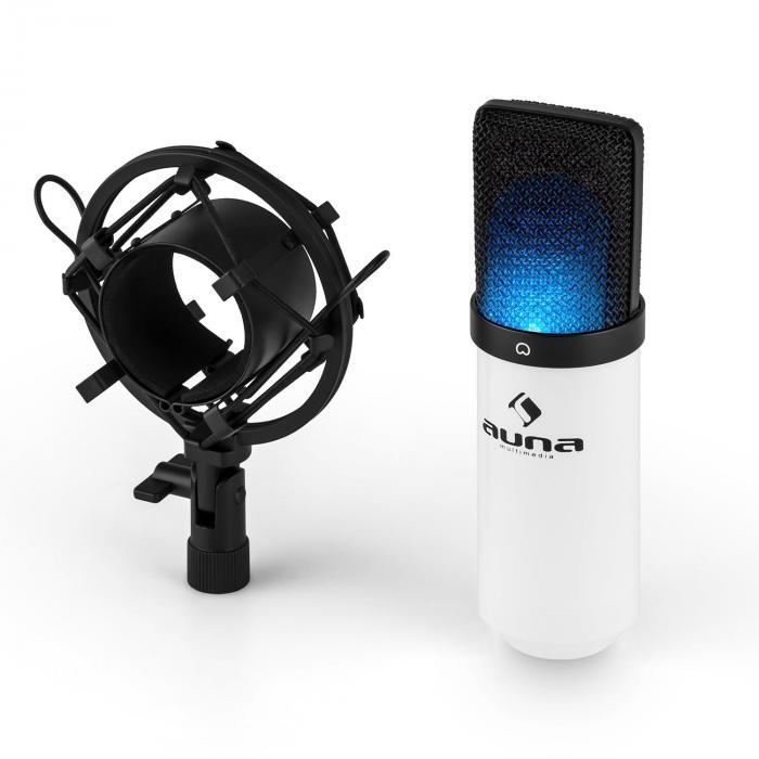 MIC-900-WH-LED USB Kondensator Mikrofon weiß Niere Studio LED