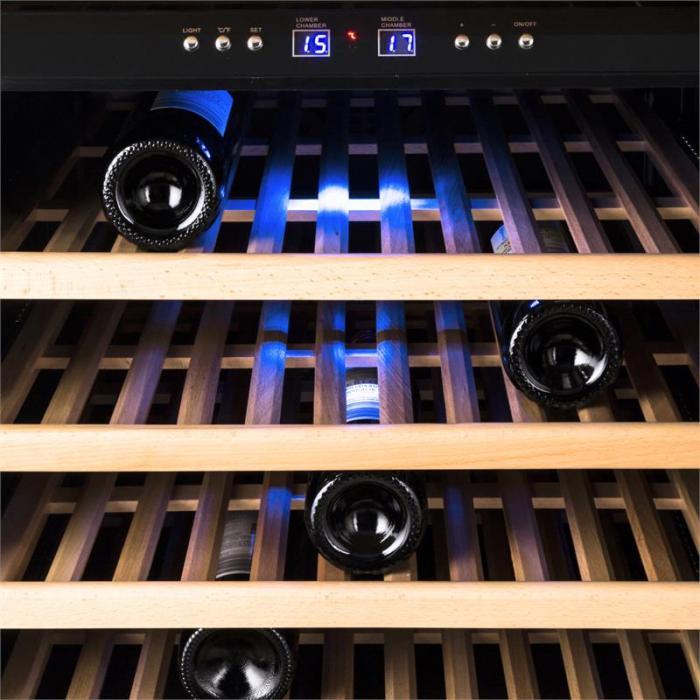 Reserva 73D Weinkühlschrank 200L 73 Flaschen 2-Zonen Edelstahl schwarz
