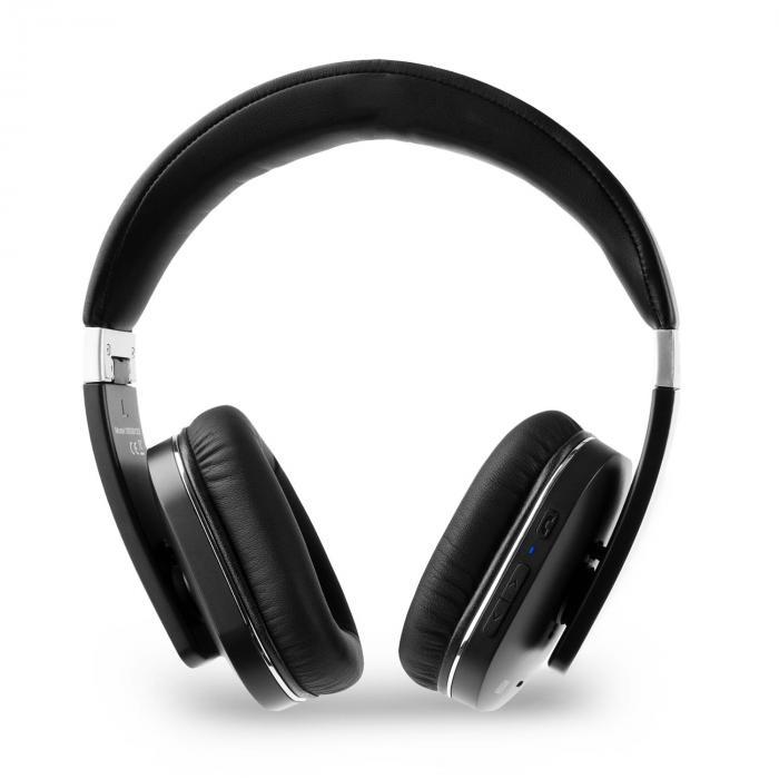 Elegance Bluetooth-NFC-Kopfhörer aptX Akku Freisprech Kunstleder schwarz