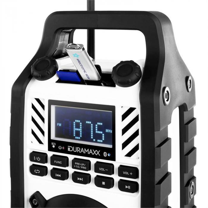 862-BT-WH Baustellenlautsprecher Akku MP3 USB SD AUX Bluetooth weiß