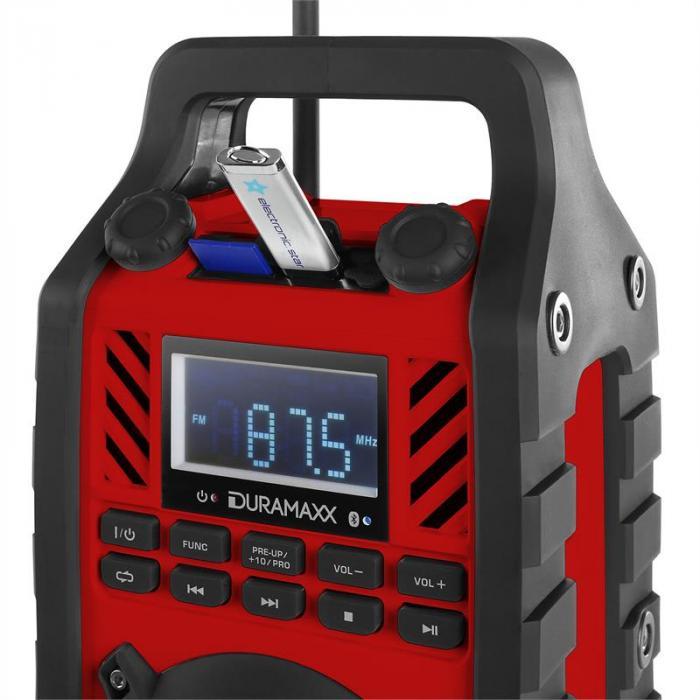 862-BTB-RD Baustellenlautsprecher Akku MP3 USB SD Bluetooth rot