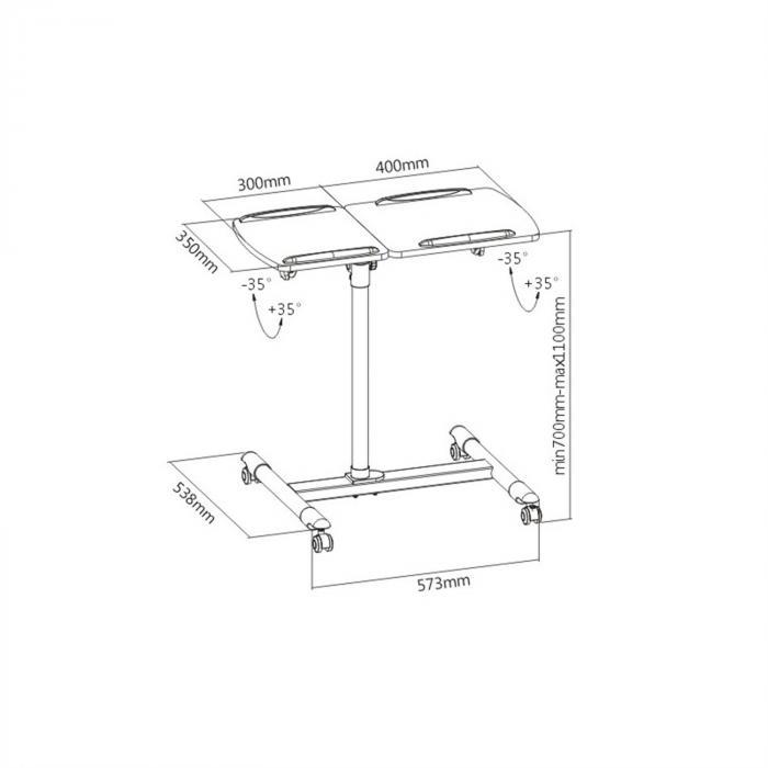 TS-5 Beamertisch 2 Ablagen max. 10 kg höhenverstellbar neigbar