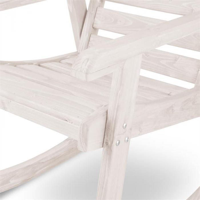 Alabama Schaukelstuhl Gartenstuhl Massivholz weiß