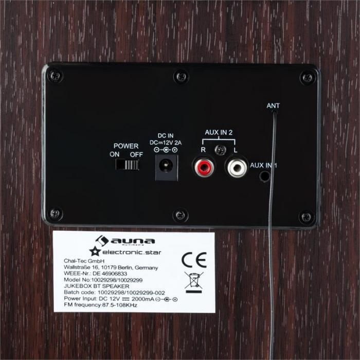 Memphis DK Jukebox Bluetooth UKW 2 x AUX LED-Lichteffekt Holz