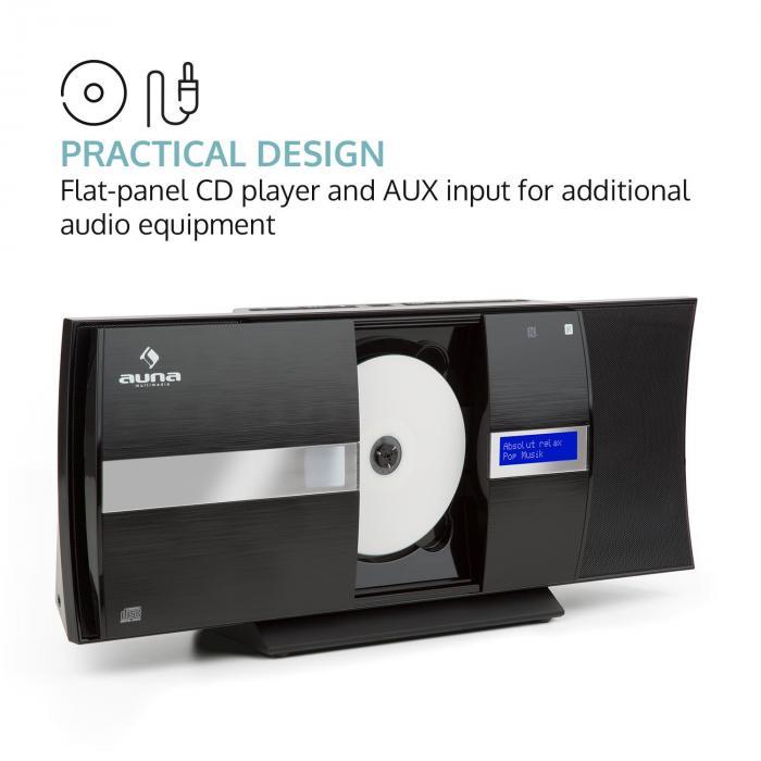 V-20 DAB Vertikal-Stereoanlage Bluetooth NFC CD USB MP3 DAB+ UKW RDS